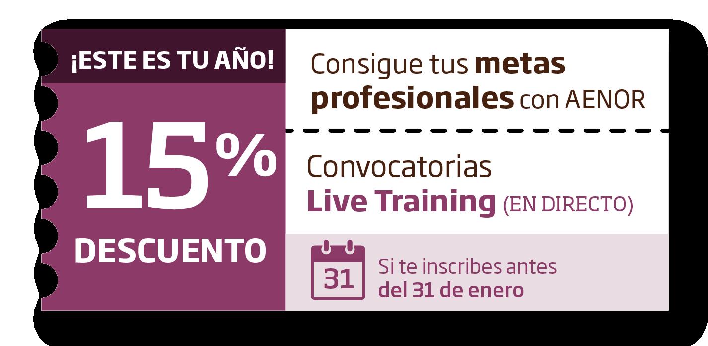 Descuento 15% convocatorias Live Training hasta 31/01/2021